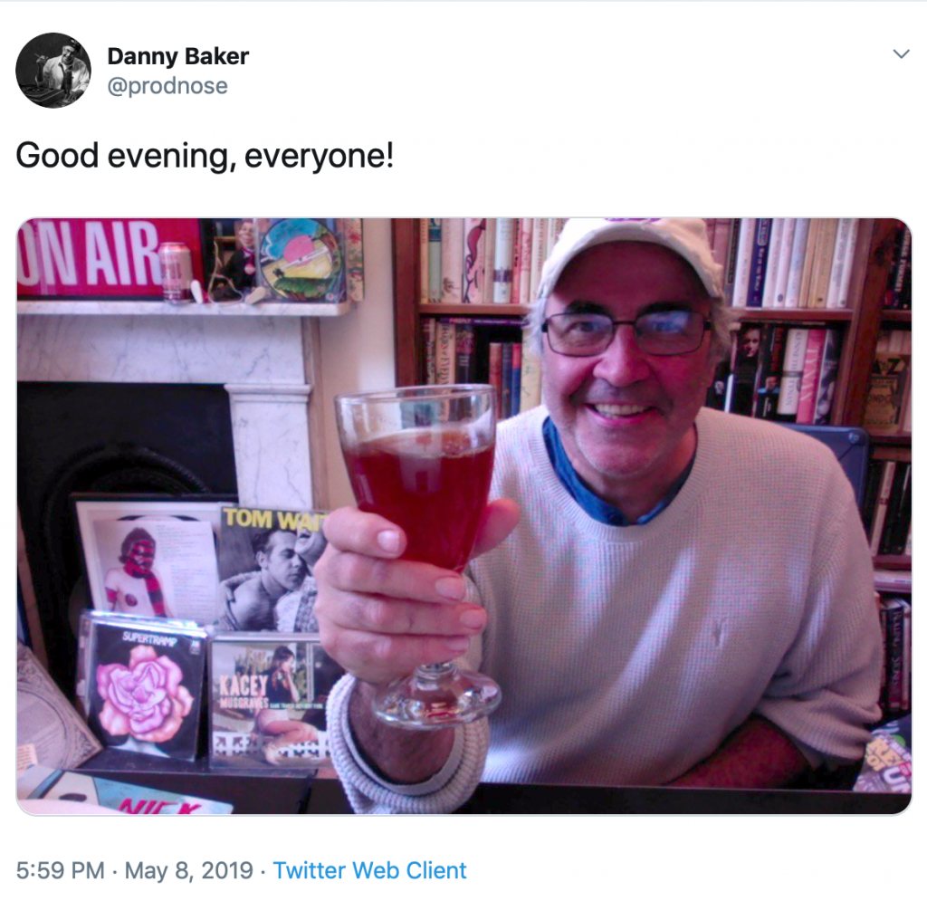 Photo of Danny Baker drinking before 6pm taken from twitter
