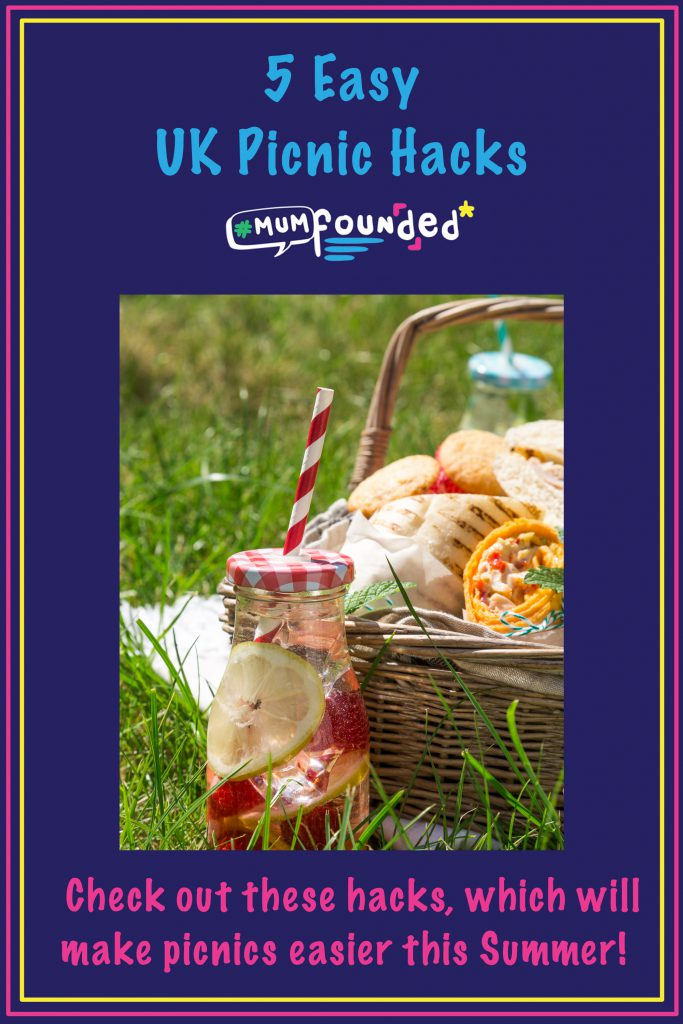 Pinterest pin saying easy UK picnic hacks and showing a picnic basket
